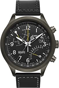 Timex Men's T2N699DH Intelligent Quartz T Series Racing Fly Back Chrono Stainless steel Case Black Strap Watch
