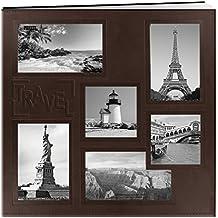 "Pioneer BBM/L Sewn Embossed Collage Frame Post Bound Album 12""X12""-Travel - Brown"