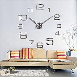 3D Wall Clock DIY Large Sticker Modern Frameless Home Decor Silver Mirror For Bedroom Living Room Office Kitchen Bar Large Number Clock Plate