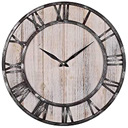 BEW Large Wall Clock, Vintage Wood Spruce Dial with Roman Numerals Metal Frame, Rustic Silent Decorative Clock for Home, Kitchen, Farmhouse (18 inch)