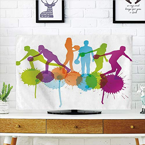 iPrint LCD TV Cover Lovely,Bowling Party Decorations,Player Silhouettes Throwing Ball Big Color Splatters Activity Fun Decorative,Multicolor,Diversified Design Compatible 50