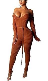 53edfcac43c7 Felivia Long Sleeve Jumpsuits for Women Elegant - Womens Off Shoulder V Neck  Ribbed Knit Bodycon