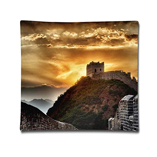 Phyllis Walker Pillow Shams Sunset at Great Wall Square Throw Pillow Case Cotton Decorative Pillowcase Cushion Cover for Sofa Bedroom 18