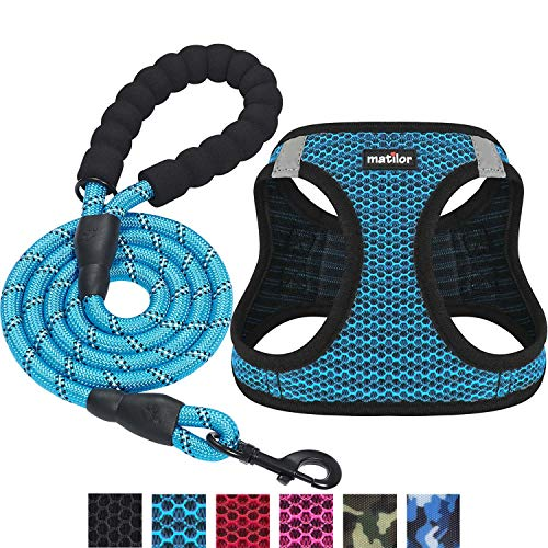 Matilor 2 Packs Dog Harness Step-in Breathable Puppy Cat Dog Vest Harnesses for Small Medium Dogs (Harness+Leash, M Chest 15