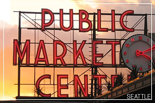 Seattle, Washington - Pike Place Market Sunset (9x12 Fine Art Print, Home Wall Decor Artwork Poster) ()