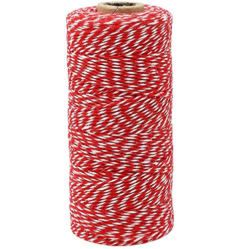 Just Artifacts ECO Bakers Twine 240yd 4Ply Striped Cherry Red - Decorative Bakers Twine for DIY Crafts and Gift Wrapping