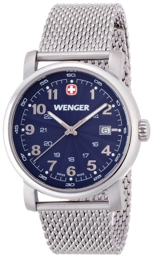 wenger Urban Classic men's quartz Watch with blue Dial analogue Display and silver stainless steel Bracelet 011041107