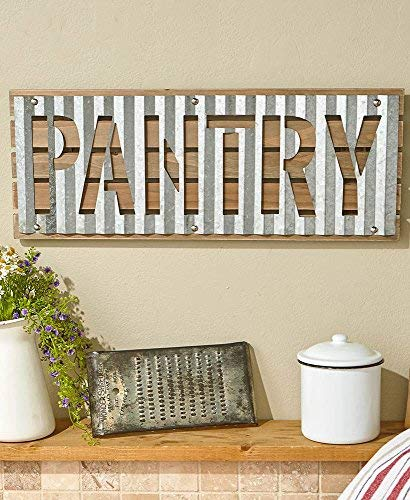 Gentle K Products Corrugated Metal And Wood Wall Decor Decorations Sign Pantry