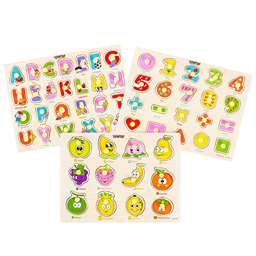 TOYMYTOY Wooden Puzzles Set Toddler - 3 Piece Puzzle Set for Kids - Alphabet ABC, Numbers Shapes and Fruits Recognition Toy Educational Puzzles for Kid Toddler Boys Girls