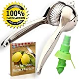 Lemon Squeezers & Lime Juicing Tool – Ultimate Chef Proven Manual Press For Citrus Fruit – Commercial Quality & Heavy Duty While Easy to Squeeze – Top Rated Squeezer With Sprayer & Ebook Included