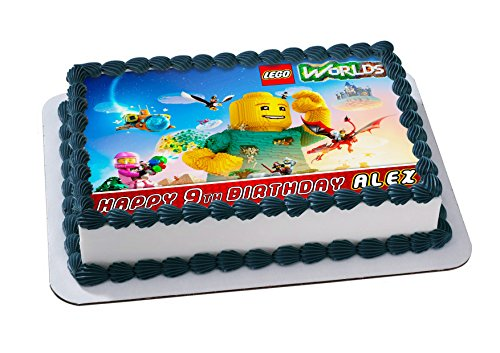 Lego Worlds Cake Topper Personalized Birthday 1/4 Sheet Decoration Custom Sheet Party Birthday Sugar Frosting Transfer Fondant Image ~ Best Quality Edible Image for cake
