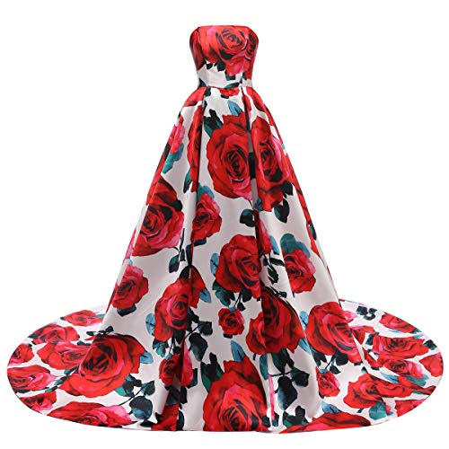 FTBY Floral Print Prom Dress Women Vintage Long Evening Dress Satin Formal Party Gown Strapless Red Floral B-10 (Floral Gown Strapless Print)