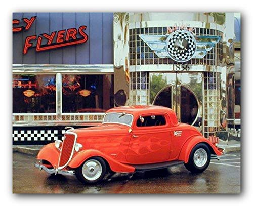 Street Hot Rod at Old Cafe Food Diner Car Print Poster (16x20)