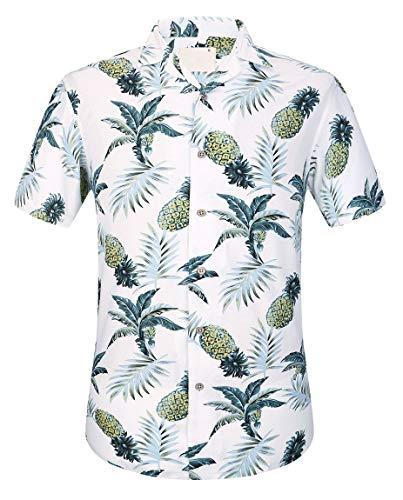 (Men's Cotton Button Down Short Sleeve Hawaiian Shirt Pineapple S)