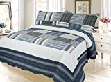 Plaid Printed Bedding 3 Piece Bedspread Quilt Set, Queen, Cadet Gray