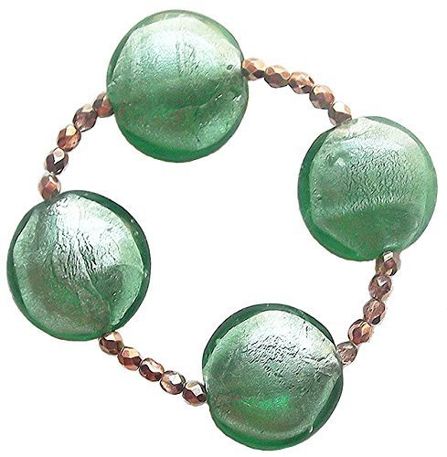 Chunky Handmade Green Foil Lampwork Glass Stretch Bracelet with Bronze Czech Glass Beads 7.5in