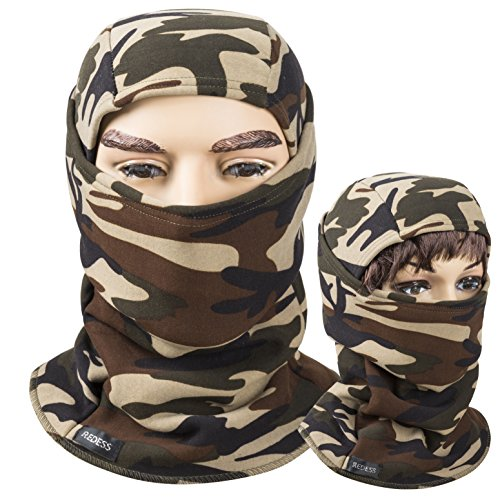 Camo Full Back Cap - Fleece lined Balaclava, Winter Windproof Ski face Mask ,thermal Motorcycle Neck Warmer and Tactical Balaclava Hood by REDESS (Camo Brown)