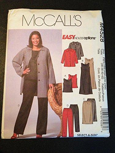 McCall's M4528 Sewing Pattern, Women's Petite Jacket, Top, Dress, Skirt & Pants, Size RR(18W-24W)