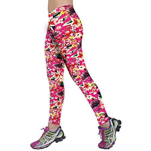 Highdas Nuevos deportes floral polainas de la manera impresi¨®n polainas delgadas pantalones de se?ora desgaste de la gimnasia 13