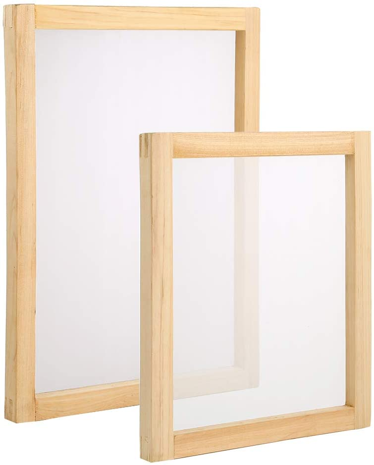 Pllieay 2 Pieces Wood Silk Screen Printing Frames 10 x 14inch,8 x 10 inch with 110 White Mesh for Screen Printing