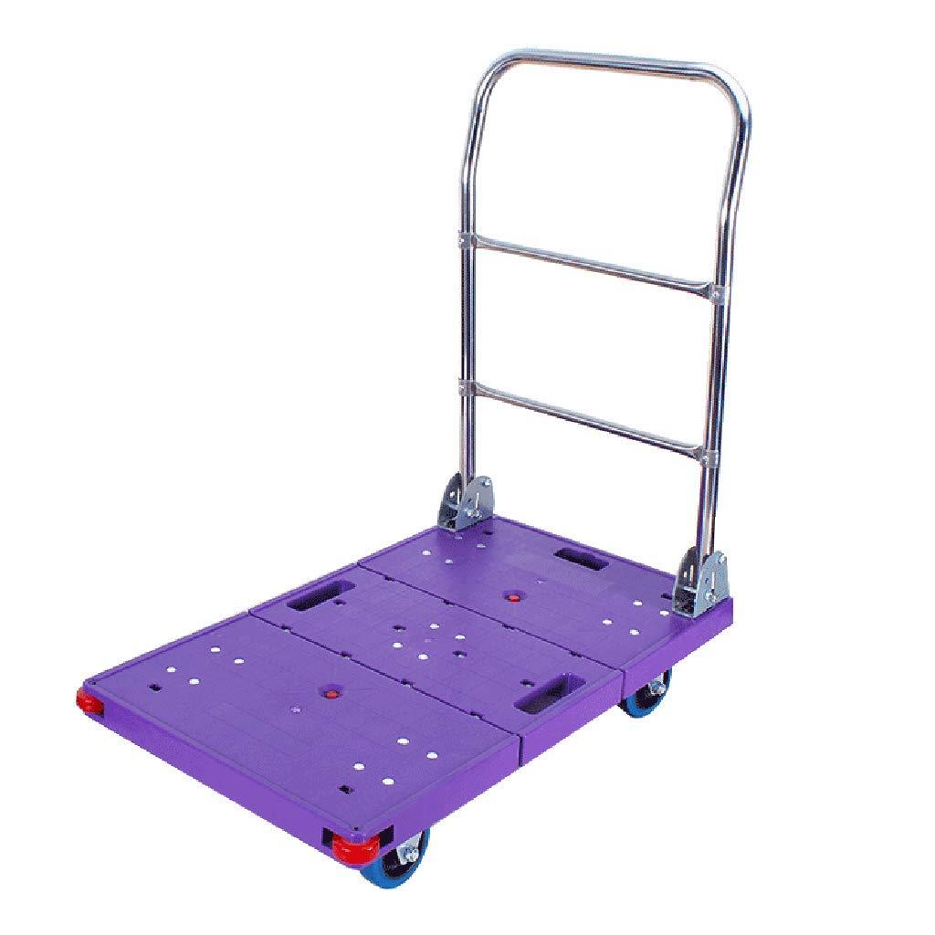 ショッピングキャリー プラットフォームトラック フラットトロリー 折り畳みトロリー 多機能トラック 家庭用ショッピングカート500 kg (Color : Purple, Size : 48*88*77cm) B07PZ5CX26 Purple 48*88*77cm