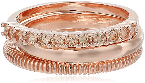 Sterling Silver Triple Stack Ring (14k Rose Gold Plated Sterling Silver Champagne Cubic Zirconia Stacking Rings (3 Piece Set))
