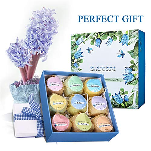 Essort Bath Bombs Gift Set, 9 × 60g Effervescent Natural Essential Oil Balls Box, Moisturizing Dry Skin Relaxation, Idea for Women, Birthday, Mothers Day