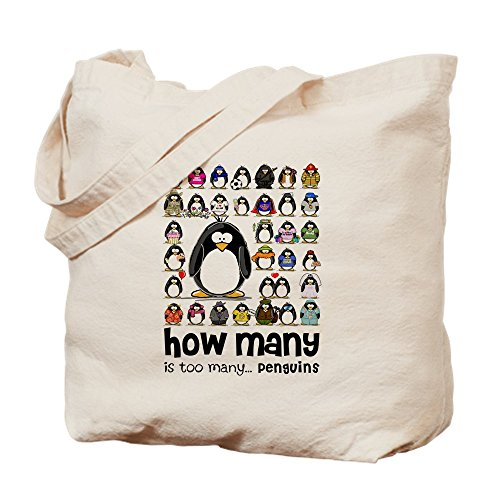 CafePress Too Many Penguins Natural Canvas Tote Bag, Cloth Shopping Bag
