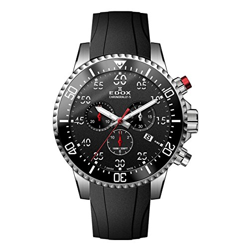 Edox Men's 'Chronorally-S' Quartz Stainless Steel and Rubber Sport Watch, Color:Black (Model: 10227 3CA NBN)
