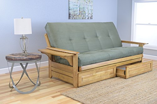 Michael Anthony Furniture Phoenix Full Size Sofa Futon and Drawer Set, Butternut Wood Frame and Suede Innerspring Mattress, Olive