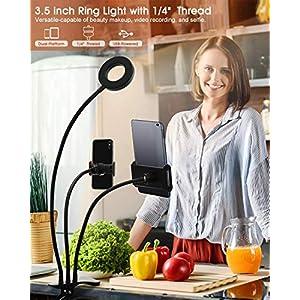 Aro de luz de 3,5 pulgadas con pinza para colocar en la mesa.