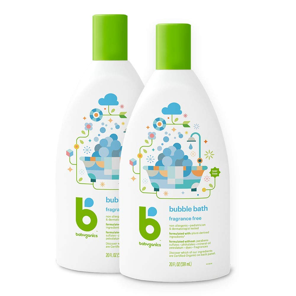 Babyganics Baby Bubble Bath, Fragrance Free, 20oz Bottle, (Pack of 2) by Babyganics