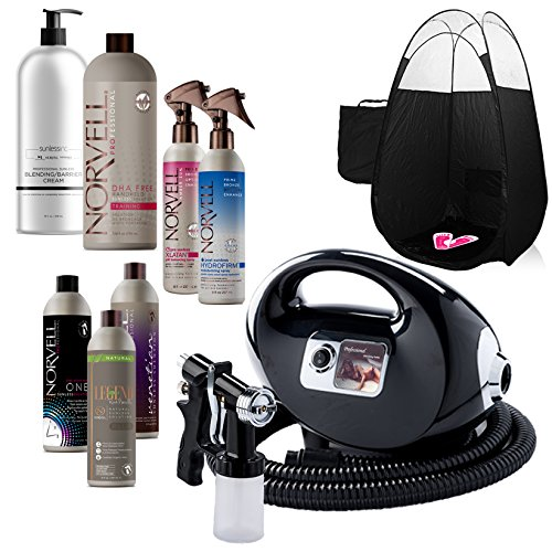 nning Machine and Gun Kit with Norvell Airbrush Tan Solution Sunless Pro Bundle and Black Pop Up Tent ()