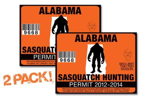 Alabama-SASQUATCH HUNTING PERMIT LICENSE TAG DECAL TRUCK POLARIS RZR JEEP WRANGLER STICKER 2-PACK!-AL