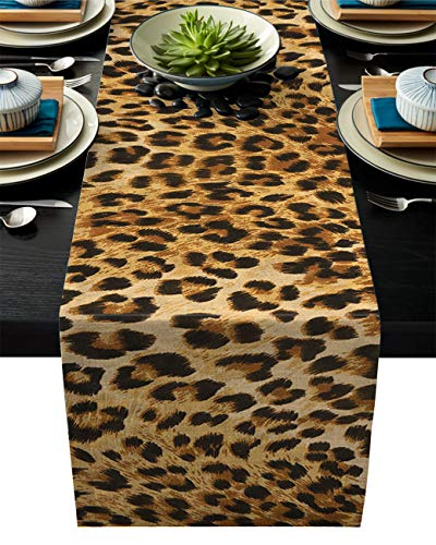 ARTSHOWING Leopard Print Table Runner Party Supplies Fabric