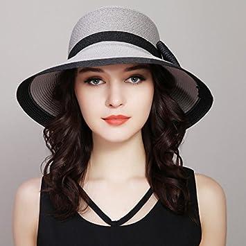 RangYR Sombrero De Mujer Sra. Cap Gorras Sombreros De Sol De Verano  Sombreros De Paja Sombreros De Sol Sombreros Grandes Plegables Sombreros De  Playa Gris  ... 20169432cc0