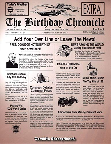 "THE BIRTHDAY CHRONICLE 8.5 x 11 or 11 x 14 Inch - 1/1/1900 to 12/31/2016, Birthday or Anniversary, Several Backgrounds, Cardstock or Photo Paper ""Customize Now"" (Birthday, Brown Burst)"
