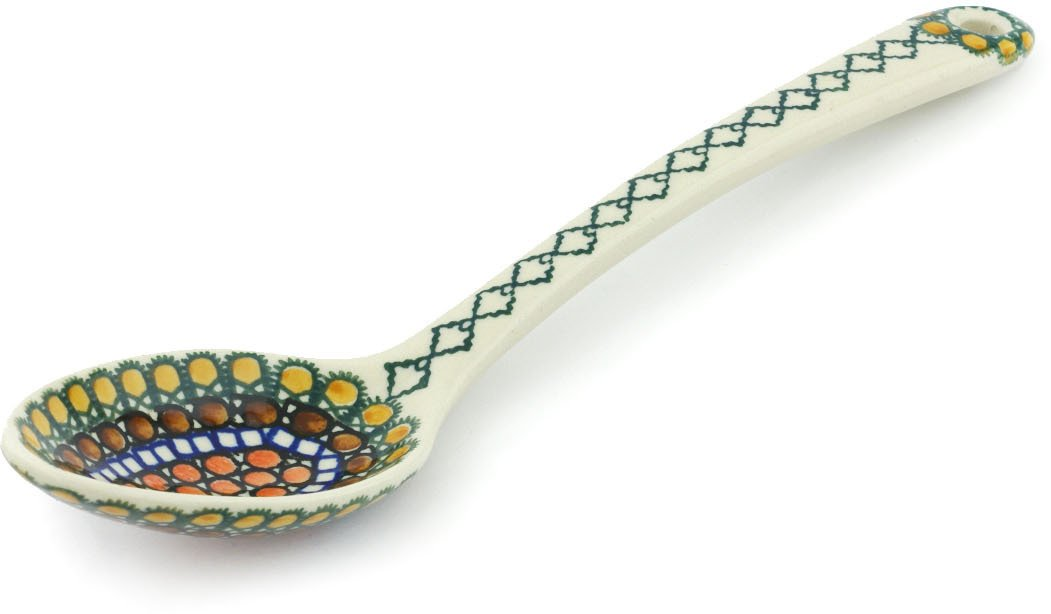 Polish Pottery 12½-inch Serving Spoon made by Ceramika Artystyczna (Orange Tranquility Theme) Signature UNIKAT + Certificate of Authenticity