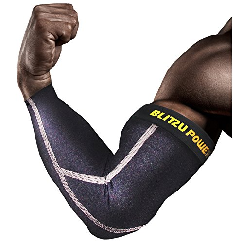 Full Elbow Support (Elbow Compression Sleeve (1 Pair) Blitzu POWER + Biceps Arm Brace Support. Premium Shooter Sleeves. For Basketball, Baseball, Tennis, Yoga, Golf. (Black, Small ( Bicep 10