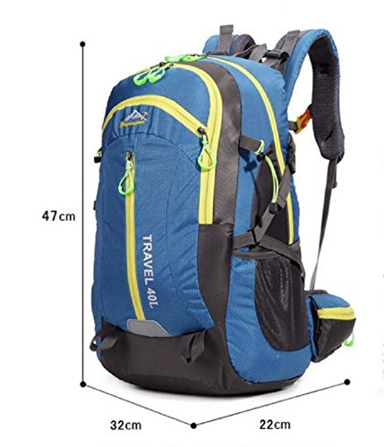 LQABW De Gran Capacidad Al Aire Libre De Los Hombres Y De Las Mujeres Del Alpinismo Que Acampa Que Acampa Impermeable Ocio Viajes Mochila,Orange Blue