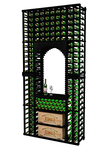 Vintner Series Wine Rack Tasting Center with Case Storage for 176 Bottles - 8 Ft - Mahogany with Midnight Black Stain - Archway Option