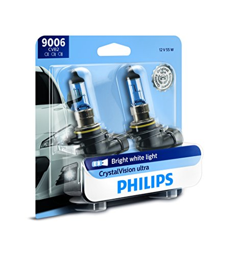 Philips 9006 CrystalVision Ultra Upgrade Bright White Headlight Bulb, 2 Pack (Plus White Bulbs Headlight)