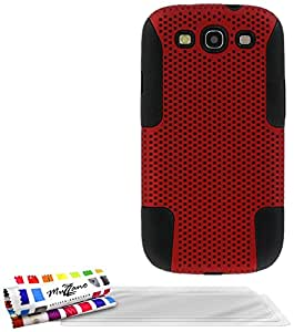 Muzzano F18938 - Funda para Samsung Galaxy S3, incluye 3 protectores de pantalla, color negro y rojo