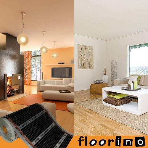 1,25m/² 2,5m L/änge // 50cm Breite floorino elektrische infrarot Fu/ßbodenheizung f/ür Laminat und Parkett 80 Watt Vollfl/ächenheizung mit Anschluss-Set