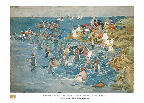 Prendergast Maurice Brazil (Buyartforless Bathing, Marblehead by Maurice Brazil Prendergast 20x28 Art Print Poster Famous Painting Still Life Ocean Landscape)
