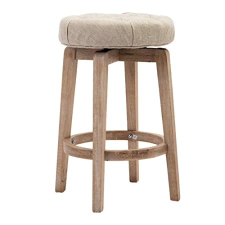 Chairus 26 Swivel Counter Height Stool, Upholstered Round Bar Stool with Tufted Button Distressed Wood Legs – Beige