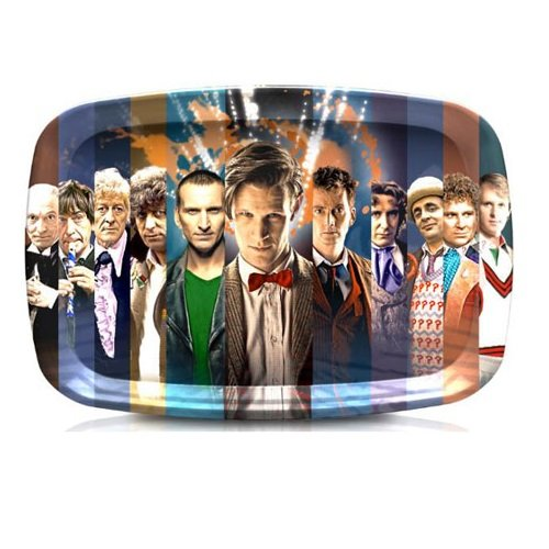 Doctor Who Tray - 50th Anniversary Tea Serving Tray with Images of All Doctors - 9.5