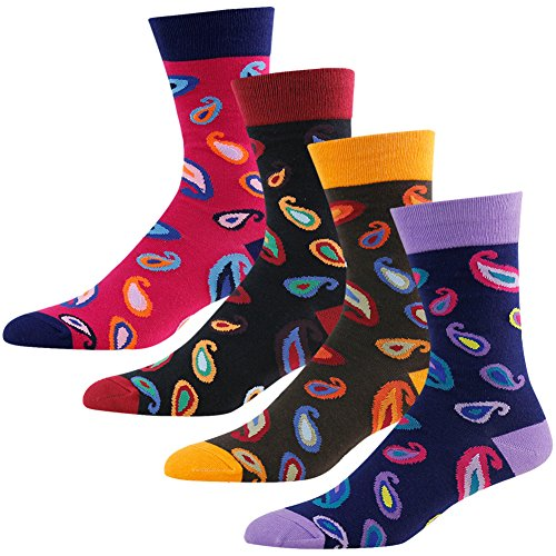 Unique Gifts Socks for Men, diwollsam Multicolored Fancy Design Dress Socks 4 Pairs Pack - Fancy Dress Stockings