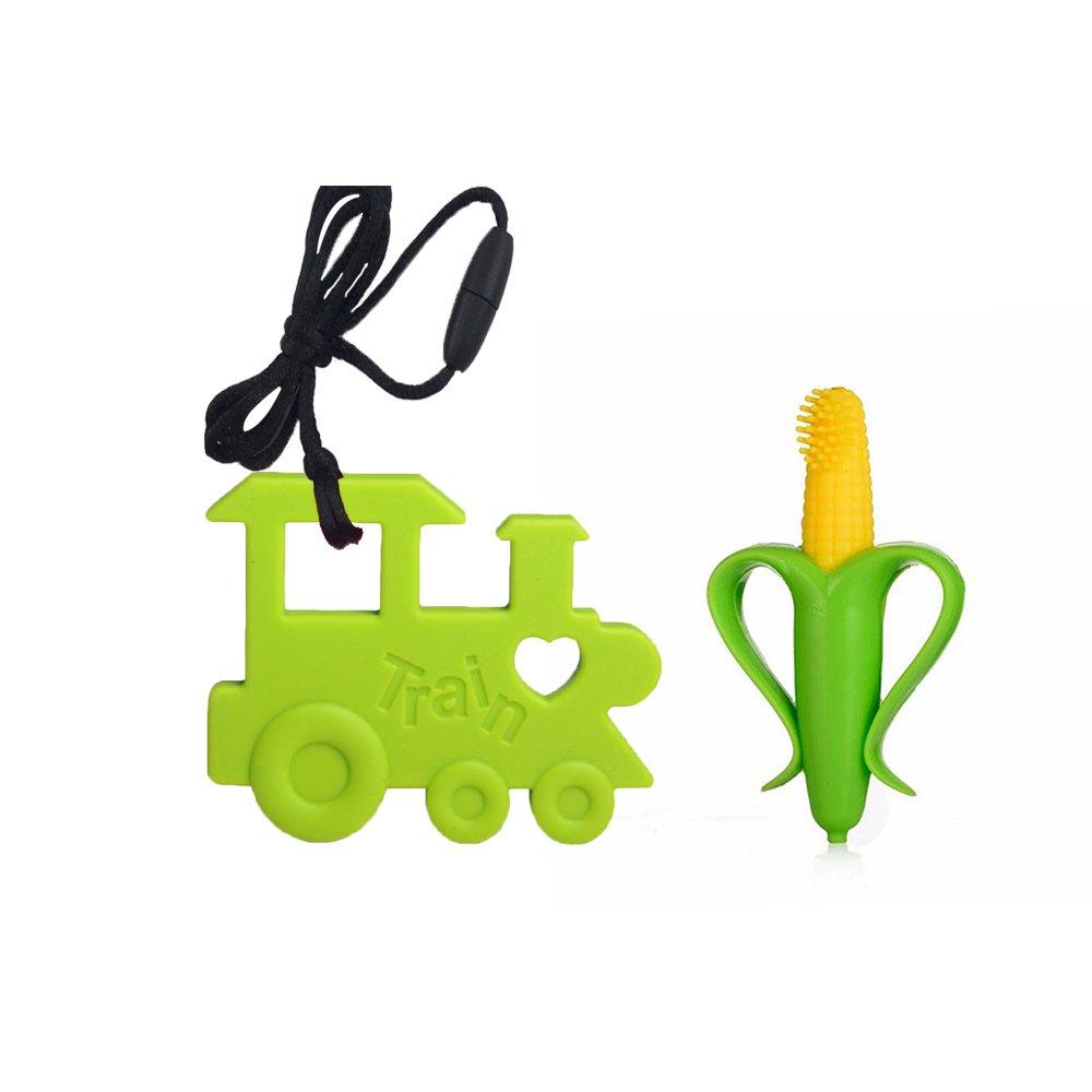 INCHANT silicona niños Mordedor Juguete - BPA liberan aprobado por la FDA bebé cepillo de dientes y Mordedor colgante - Cool regalos del bebé suave calmante ...