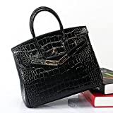 MACTON Genuine Leather bag Crocodile top-handle bag MC-8001 (35CM, Black)
